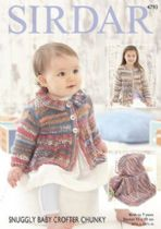 Sirdar Snuggly Baby Crofter Chunky - 4793 Cardigans & Blanket Knitting Pattern